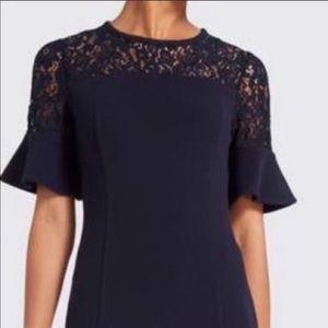 Draper James solid navy flutter sleeve lace dress